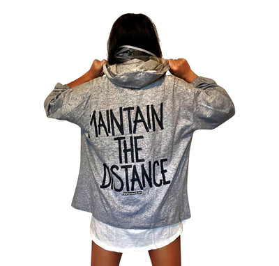 'MAINTAIN THE DISTANCE' PAINTED HOODIE (with removable face shield)
