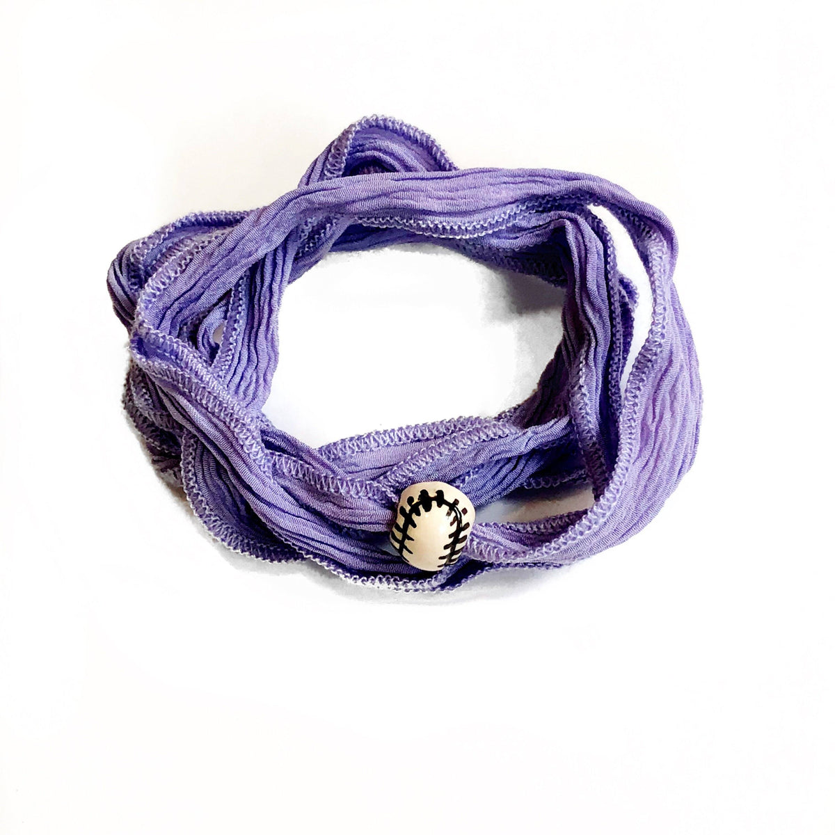 Lavender wrap with baseball charm Silk wrap hand made, and hand dyed.