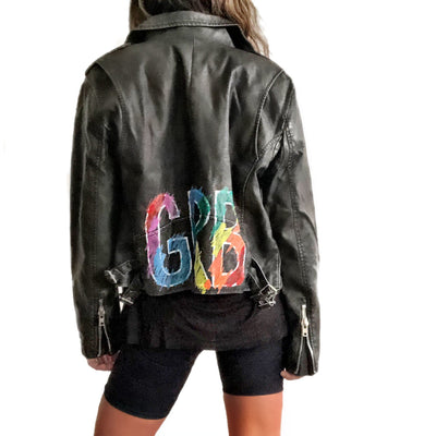 'TECHNICOLOR INITIALS' LEATHER JACKET