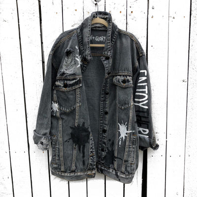 'ENJOY THE RIDE' (with your initial) DENIM JACKET - WOMEN