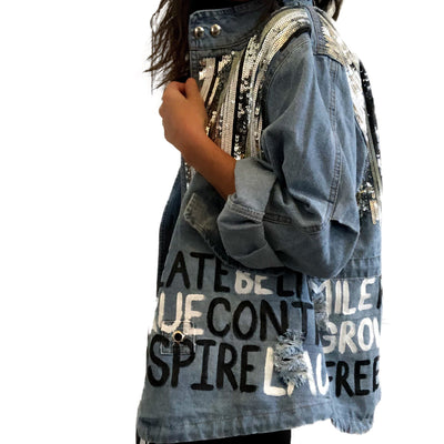 'POSITIVE VIBES' DENIM JACKET
