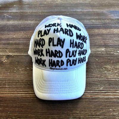'WORK HARD' PAINTED HAT