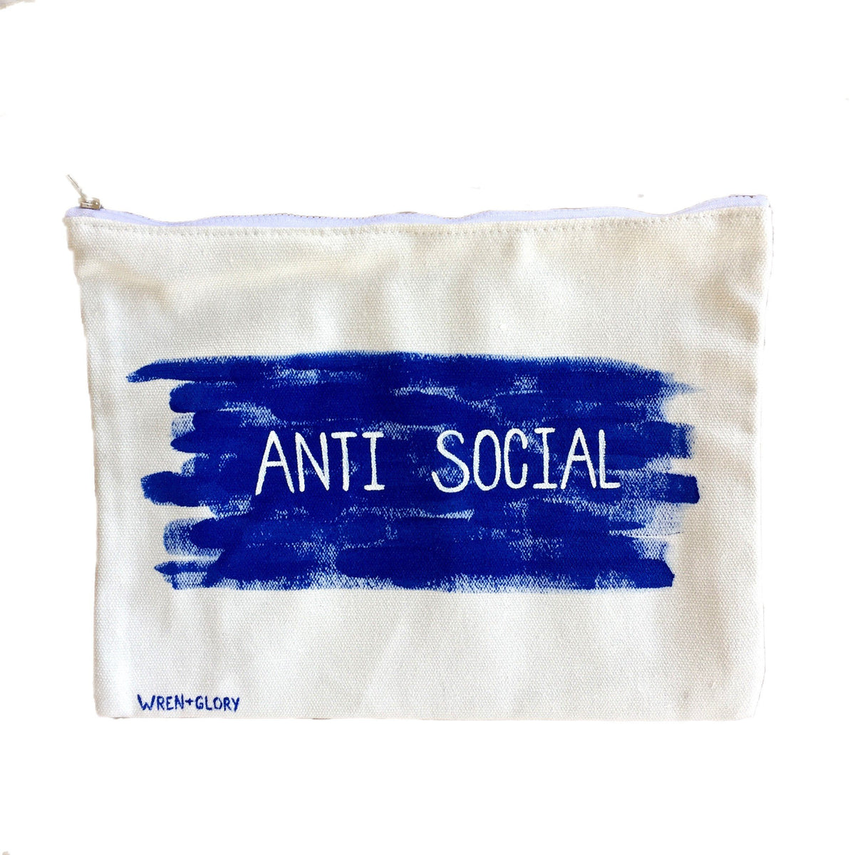 White denim zippered pouch. Hand painted 'ANTI SOCIAL' design. Signed @wrenandglory.