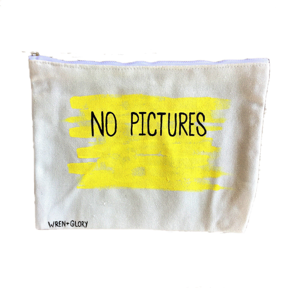 'NO PICTURES' PAINTED POUCH