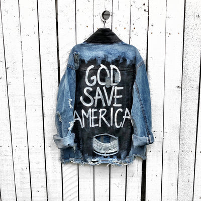 'PRAY FOR US' DENIM JACKET