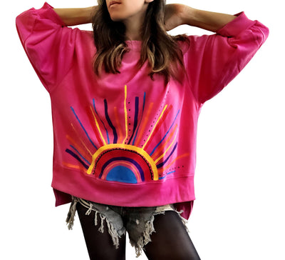 'RAINBOW BURST' PAINTED SWEATSHIRT