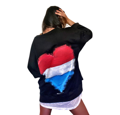'RED, WHITE & BLUE LOVE' PAINTED SWEATSHIRT