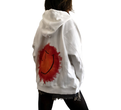 'SMILING SMILEY' PAINTED HOODIE