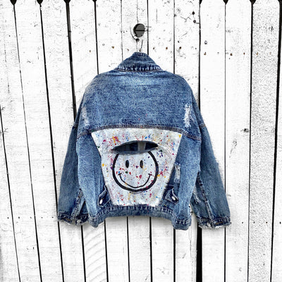 'SPLATTERED SMILEY' DENIM JACKET