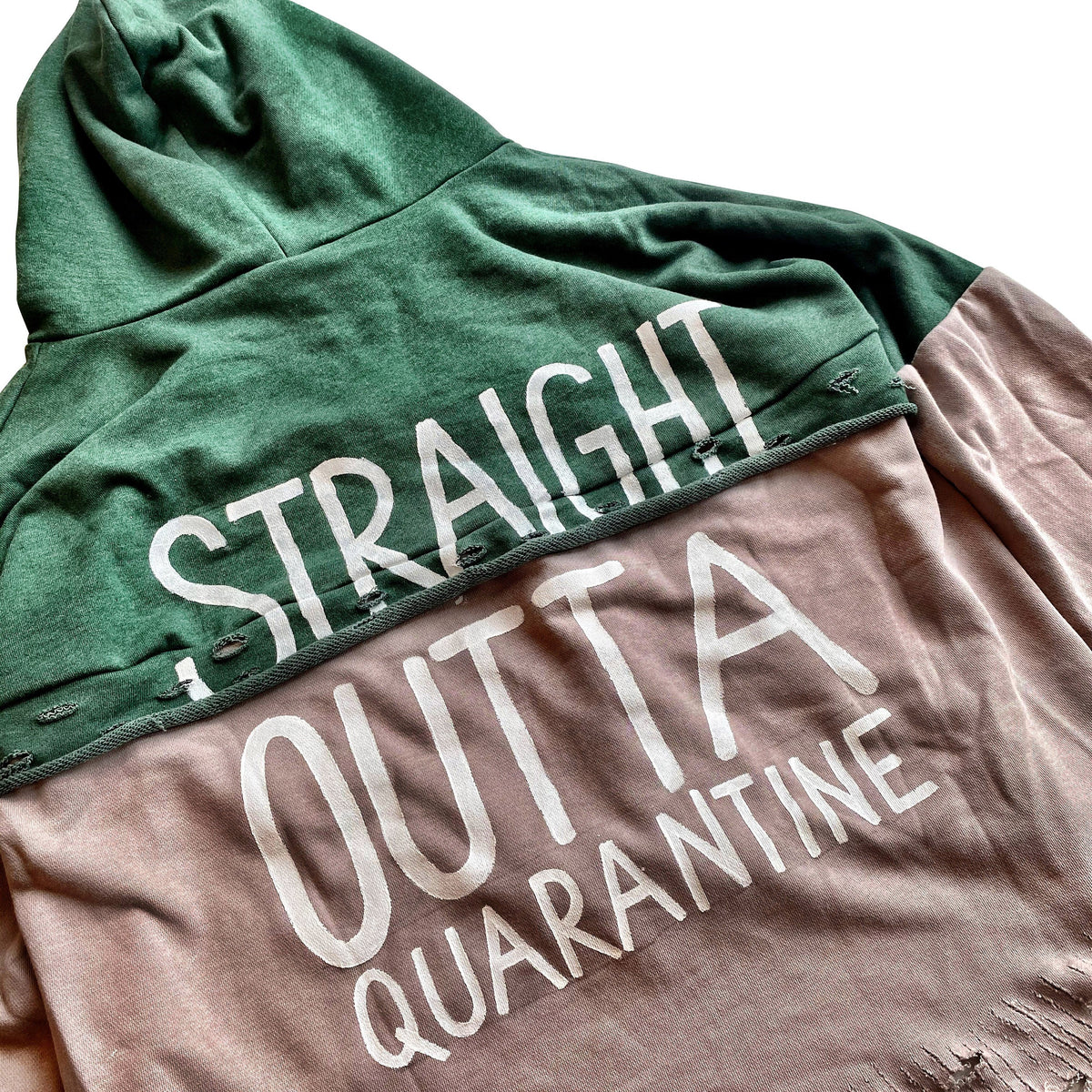 'STRAIGHT OUTTA QUARANTINE' PAINTED HOODIE