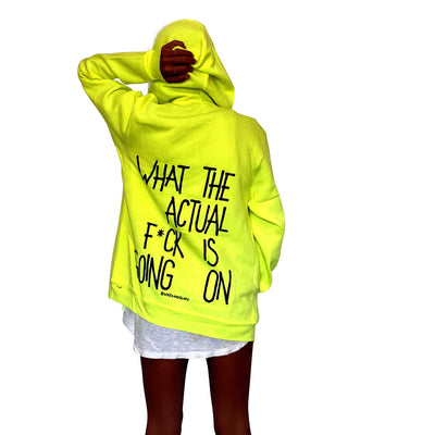 'WAIT WHAT' PAINTED ZIP UP HOODIE