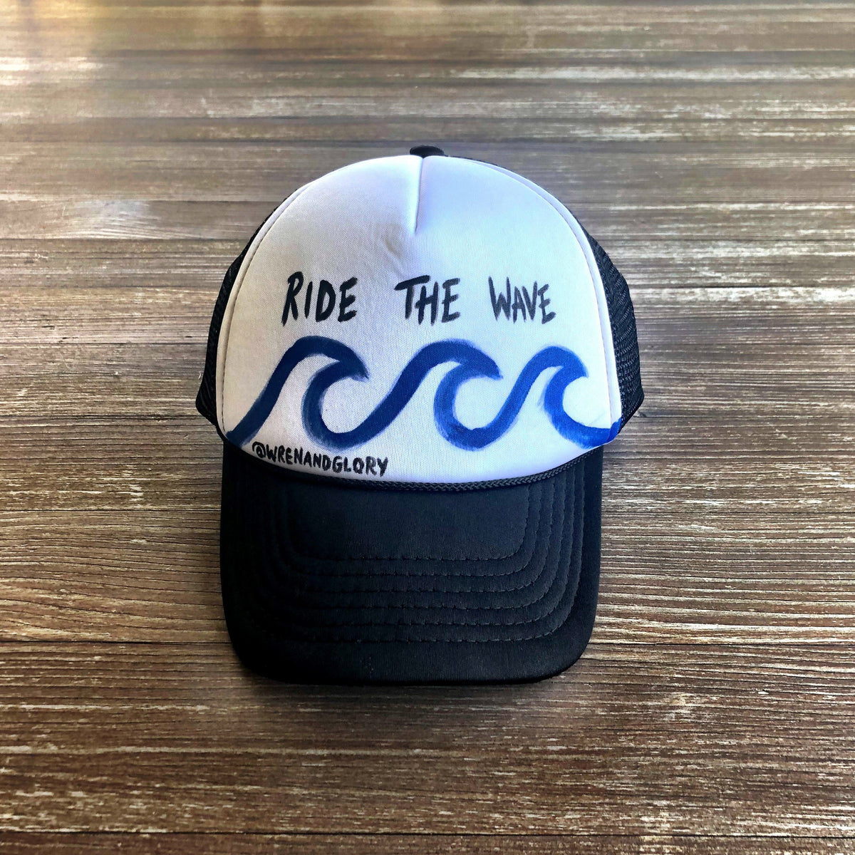 'RIDE THE WAVE' PAINTED HAT