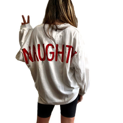 'NAUGHTY' PAINTED SWEATSHIRT