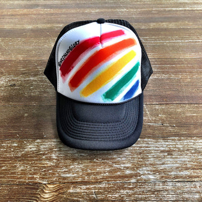 'RAINBOW STRIPE' PAINTED HAT