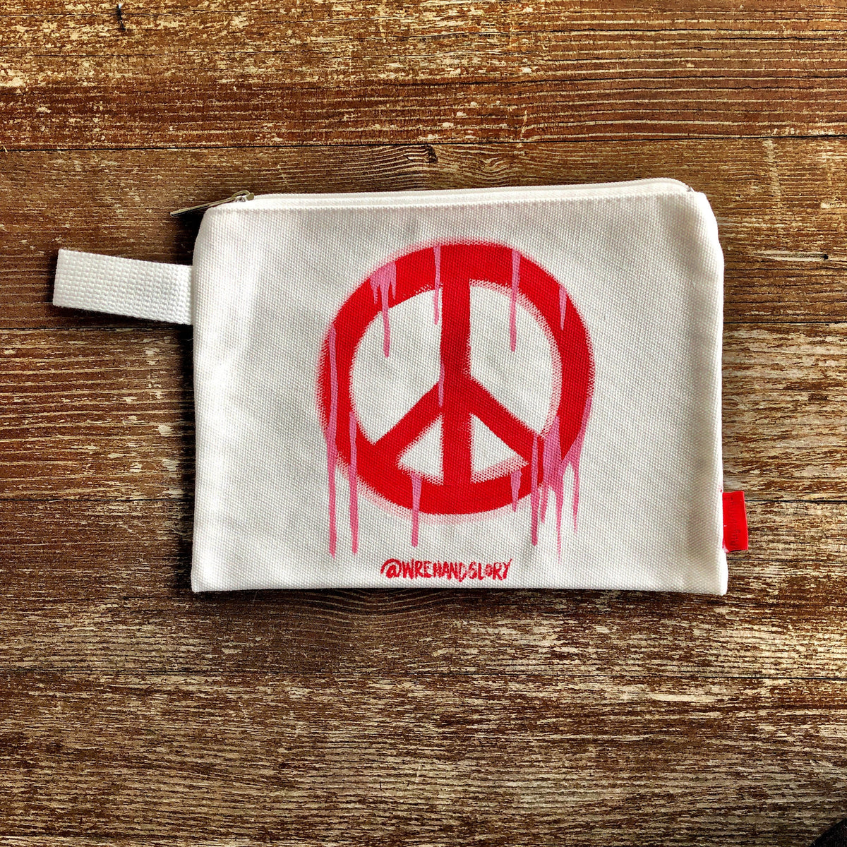 'PEACE' PAINTED POUCH