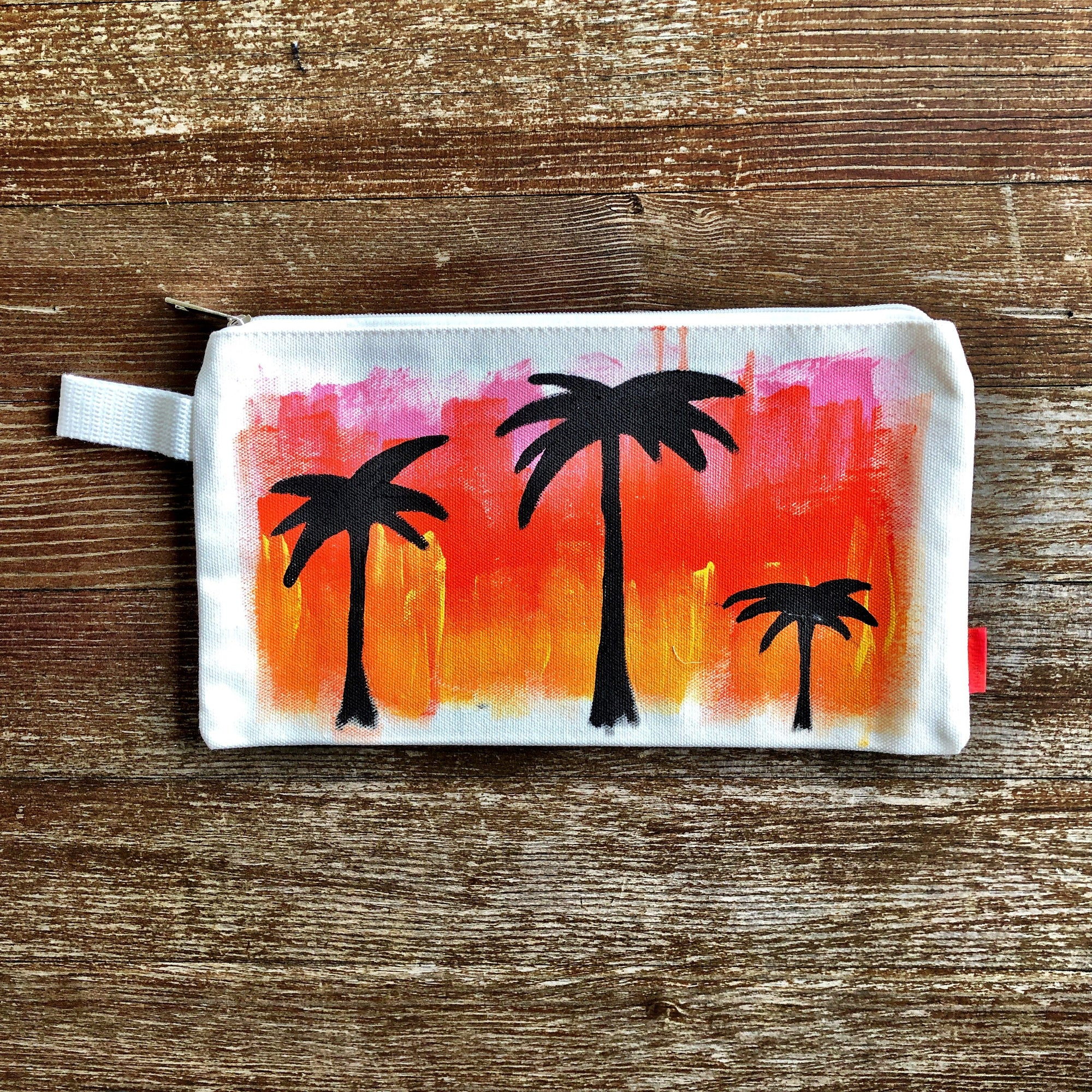 'PALMS' PAINTED POUCH