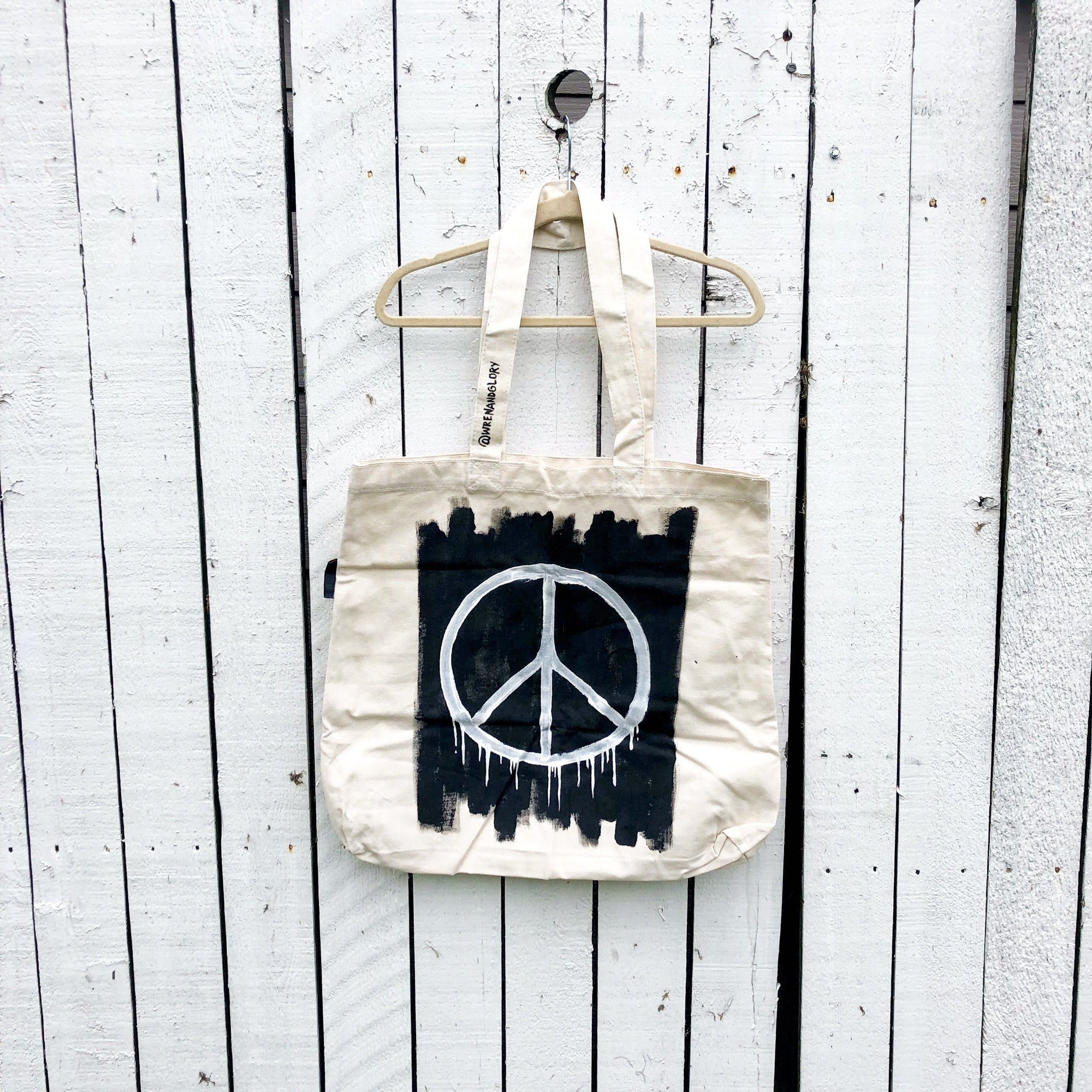 'PEACE' PAINTED TOTE BAG
