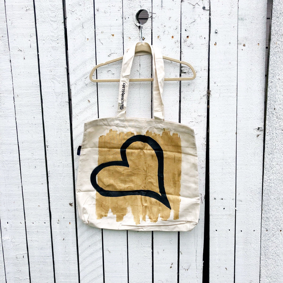 'HEART' PAINTED TOTE BAG
