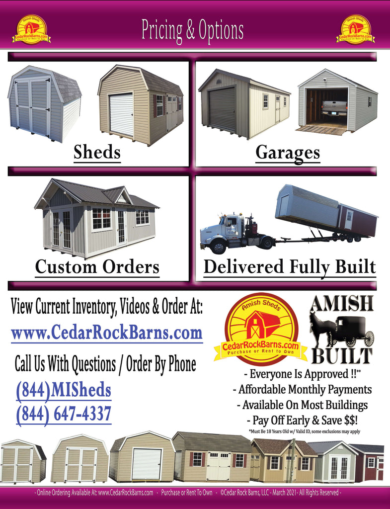 2021 Shed Pricing and Options Catalog - Cedar Rock Barns - Page 1