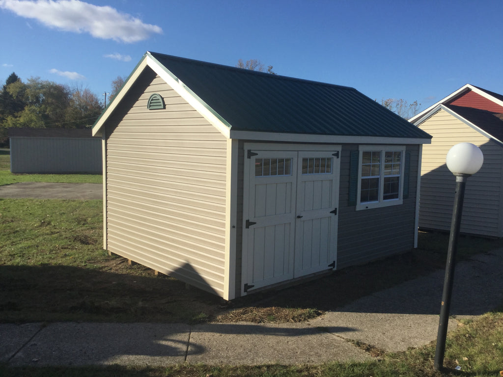 12x16 Vinyl Cape Cod w/ Deluxe and Steel Roof
