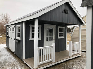 12x20 Painted Cape Cod w/ Deluxe & Porch Patio - QP309