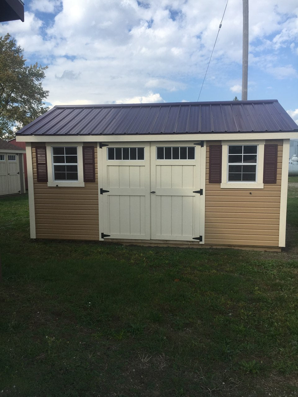 12x16 Vinyl Cottage Workshop w/ Deluxe & Steel Roof