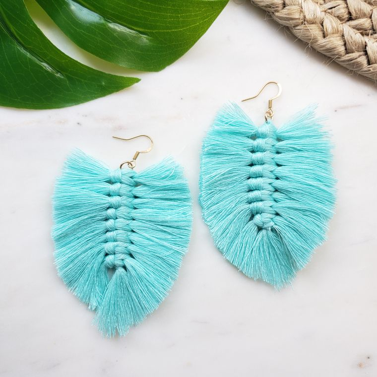 Boho Fringe Earrings- Turquoise