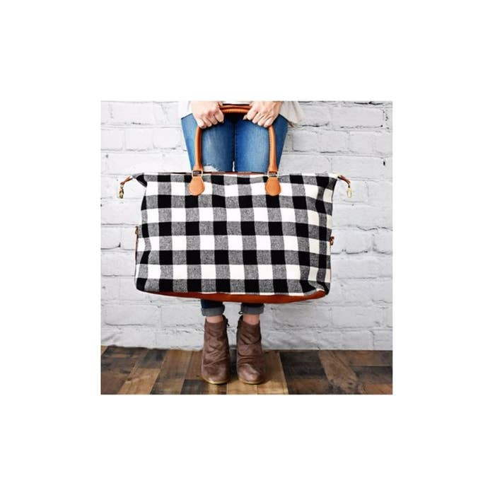 Buffalo Plaid Weekender Bag- Black/White