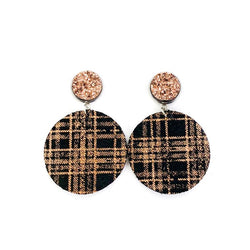 Druzy Stud & Rose Gold Shimmer Buffalo Plaid Dangle Leather Earrings