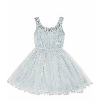Feather Embellished Dress- Ice Blue