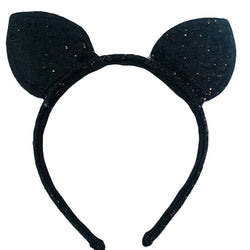 Glitter Cat Ears Headband-Black