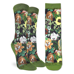 Good Luck Sock; Women's- Floral Dogs