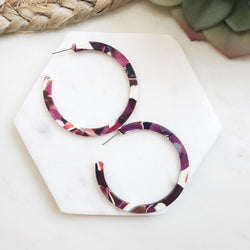 Plum Cameron Hoop Earrings
