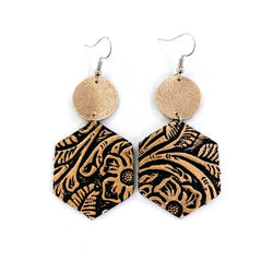 Rose Gold Floral On Black Dangle Leather Earrings