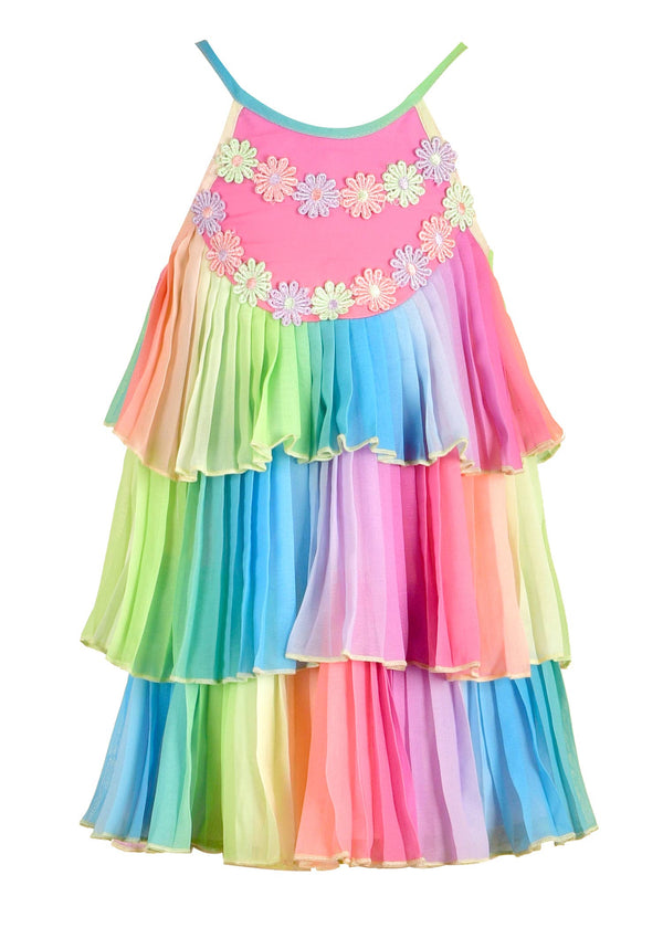 3-Tier Rainbow, Pleated Dress