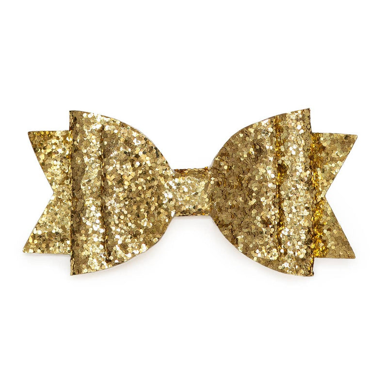 Glitter Bow Hair Clip- Gold