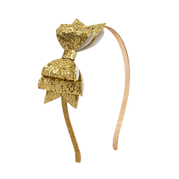 Glitter Bow Headband- Gold