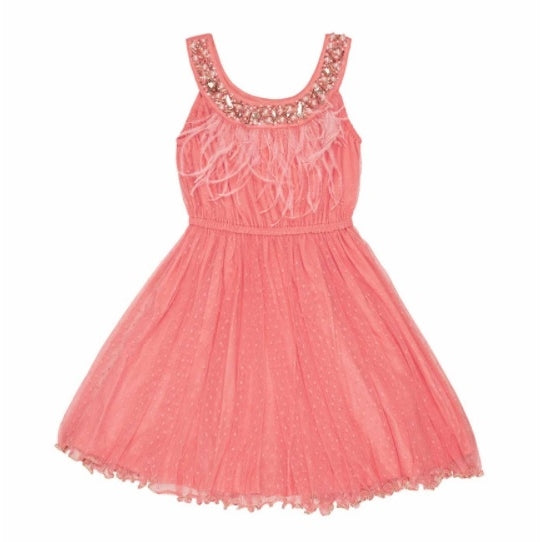 Feather Embellished Dress- Coral
