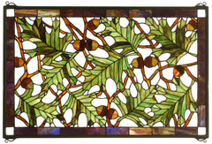 66276 Acorn & Oak Leaf Stained Glass Window by Meyda Lighting | 28x18 inches