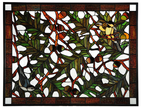 134346 Backyard Friends & Acorns Stained Glass by Meyda Lighting | 27x21""