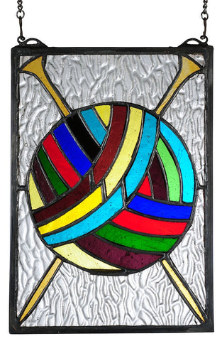 68900 Ball of Yarn & Needles Stained Glass by Meyda Lighting | 6.25x8.9""