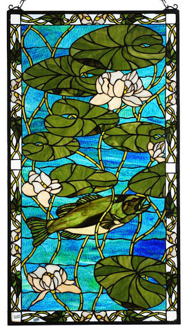 73629 Bass & Water Lilies Stained Glass Window by Meyda Lighting | 23x42""
