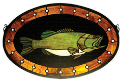 23970 Bass Plaque Oval Stained Glass Window by Meyda Lighting | 22x14 inches
