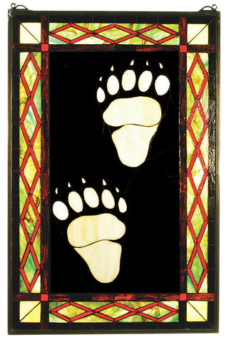 74143 Bear Tracks Stained Glass Window by Meyda Lighting | 18x26.5 inches