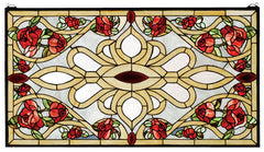 67139 Bed of Roses Stained Glass Window by Meyda Lighting | 36x20 inches