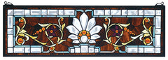 73063 Beveled Ellsinore Transom Stained Glass by Meyda Lighting | 28x9""