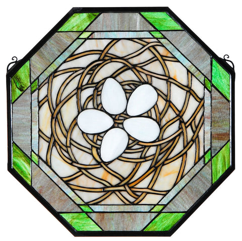 37532 Bird's Nest Octagon Stained Glass Window by Meyda Lighting | 19x19""