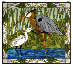 62955 Blue Heron & Snowy Egret Stained Glass by Meyda Lighting | 30x27""