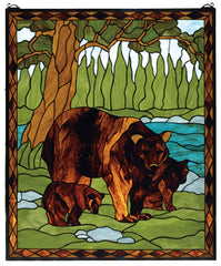 72935 Brown Bear Stained Glass Window by Meyda Lighting | 25x30 inches