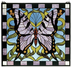 46464 Butterfly Stained Glass Window by Meyda Lighting | 25x23 inches